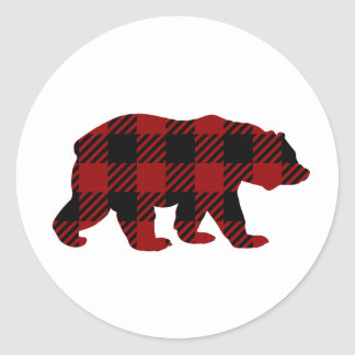 Buffalo Plaid Bear Sticker