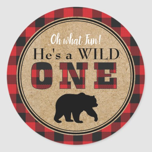 Buffalo Plaid Birthday Stickers