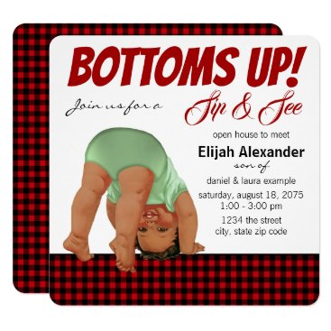 Buffalo Plaid Boy Sip and See Invitation