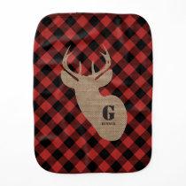 Buffalo Plaid Burlap Buck Deer Burp Cloth