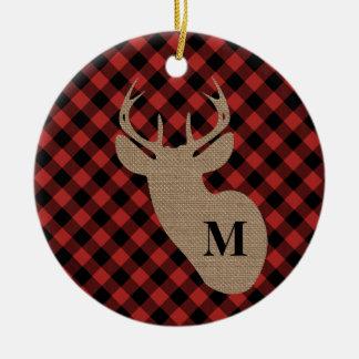 Buffalo Plaid Burlap Deer Head Monogram Ceramic Ornament
