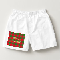 Buffalo Plaid Christmas Check Pattern,Green Red Boxers