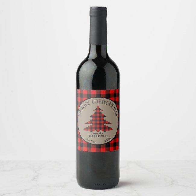 Buffalo Plaid Christmas Tree Wine Label