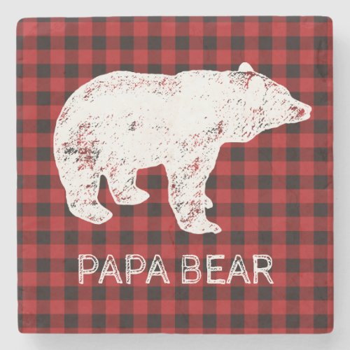 Buffalo Plaid Coaster _ Papa Bear