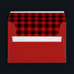 """Buffalo Plaid Custom Envelopes<br><div class=""""desc"""">Rustic look Christmas card envelope done in red,  on the outside,  and a red and black buffalo plaid pattern,  on the inside.  Personalize the black custom return address,  on the back flap,  to suit your needs.  Matching holiday photo greeting cards are available.</div>"""