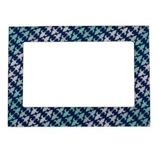 Buffalo Plaid Damask Mint Green Midnight Blue Magnetic Frame
