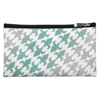 Buffalo Plaid Damask Mint Green Ombre Shade Fleur Cosmetic Bag