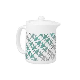 Buffalo Plaid Damask Mint Green Ombre Shade Fleur Teapot