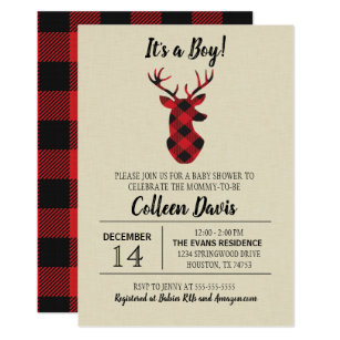 Buffalo Plaid Deer Baby Shower Invitation