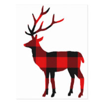Buffalo Plaid Deer | Postcard