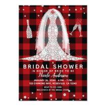 Buffalo Plaid Diamond Wedding Dress Bridal Shower Card
