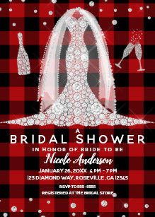 Buffalo Plaid Diamond Wedding Dress Bridal Shower Invitation