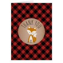 Buffalo Plaid Fox Baby Shower Thank You