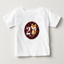 Buffalo Plaid Fox Birthday Shirt