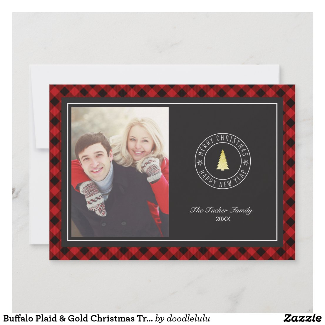 Buffalo Plaid & Gold Christmas Tree Photo Card
