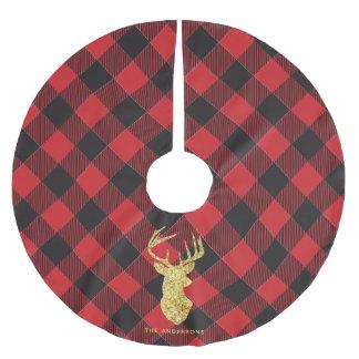 Buffalo Plaid Gold Deer Monogram Christmas Brushed Polyester Tree Skirt