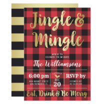 Buffalo Plaid & Gold Jingle & Mingle Holiday Party Invitation