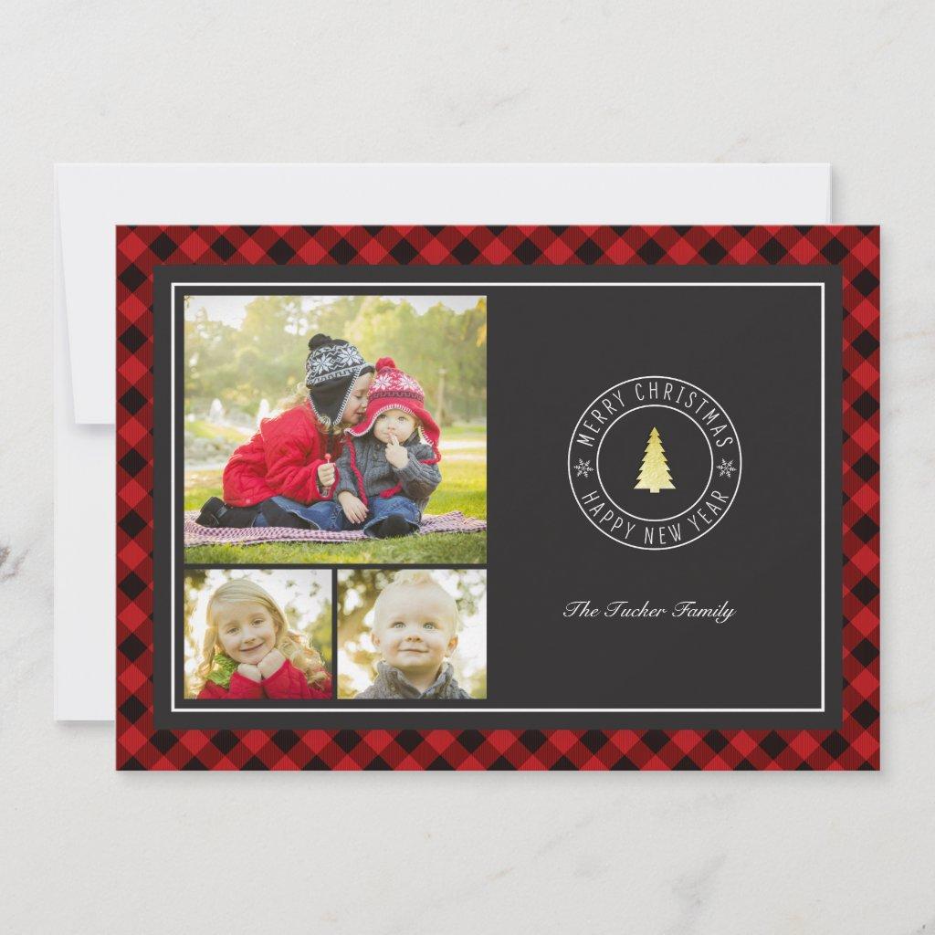 Buffalo Plaid & Gold Tree Christmas 3 Photo Holiday Card