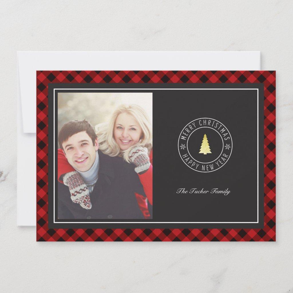Buffalo Plaid & Gold Tree Christmas Photo Card