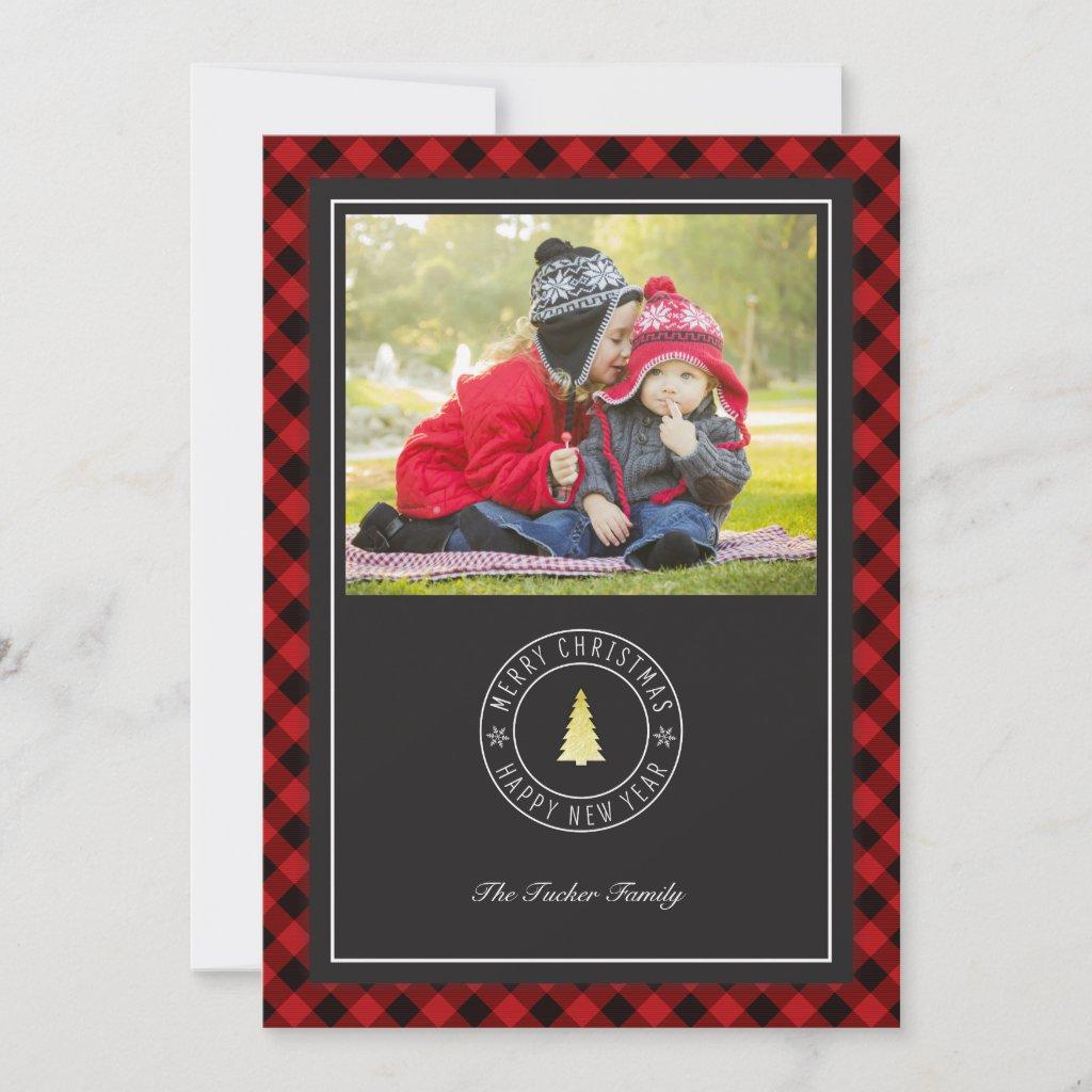 Buffalo Plaid & Gold Tree Christmas Vertical Holiday Card