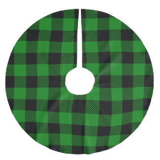 Buffalo Plaid Green Brushed Polyester Tree Skirt