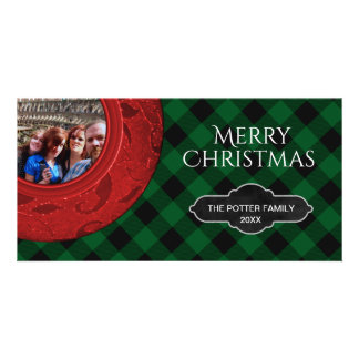 Buffalo Plaid Green Red Holiday | Merry Christmas Card