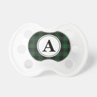Buffalo Plaid Green White Monogrammed Pacifier