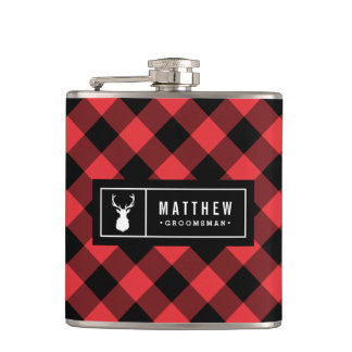 Buffalo Plaid Groomsman Flask