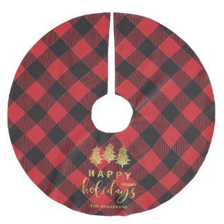 Buffalo Plaid Happy Holidays Monogram Christmas Brushed Polyester Tree Skirt