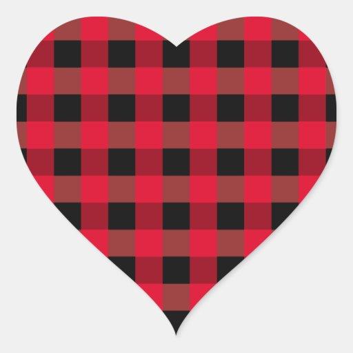Buffalo Plaid Heart Heart Sticker Zazzle