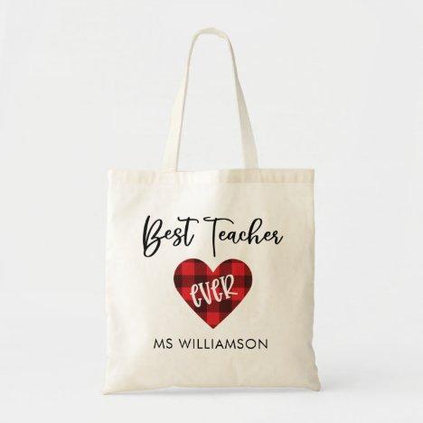Buffalo Plaid Heart Teacher Appreciation Name Tote Bag