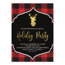 Buffalo Plaid Holiday Party Invitation