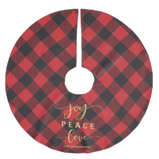 Buffalo Plaid Joy Peace Love Monogram Christmas Brushed Polyester Tree Skirt