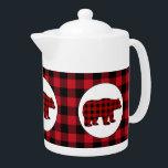 """Buffalo plaid kitchen bear teapot<br><div class=""""desc"""">design by www.etsy.com/Shop/Milachi back by www.etsy.com/Shop/JLaurieStudio</div>"""