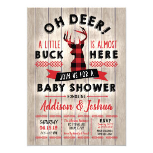 Buffalo Plaid Little Buck Oh Deer Baby Shower Invitation