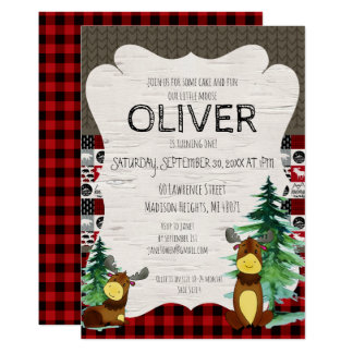 Buffalo Plaid Little Moose Party Invitation
