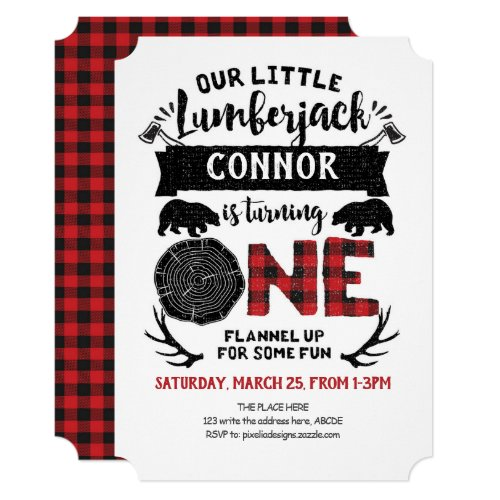 Buffalo Plaid, Lumberjack, Boy, 1st Birthday Invitation