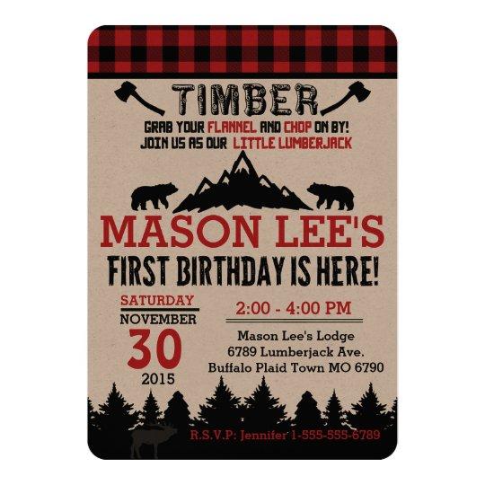 buffalo plaid lumberjack first birthday invitation zazzle com