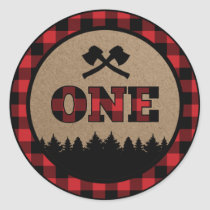 Buffalo Plaid Lumberjack First Birthday Sticker