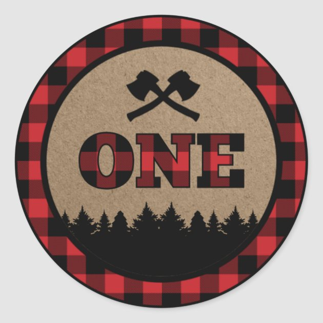 Buffalo Plaid Lumberjack First Birthday Sticker Zazzle