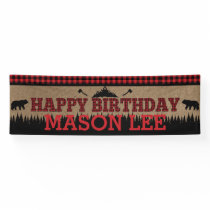 Buffalo Plaid Lumberjack Happy Birthday Banner