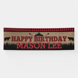 Buffalo Plaid Lumberjack Happy Birthday Banner
