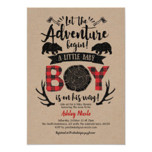 Buffalo Plaid, Lumberjack, Rustic, Kraft, Baby Boy Invitation