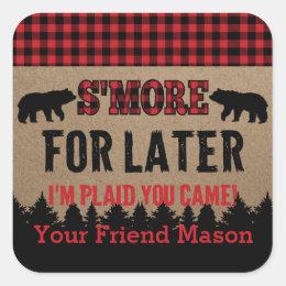 Buffalo Plaid Lumberjack S'more Favor Sticker