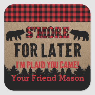 Buffalo Plaid Lumberjack S'more Favor Sticker