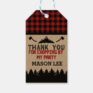 Buffalo Plaid Lumberjack Thank You Favor Tag
