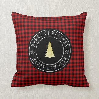 Buffalo Plaid Merry Christmas Lodge Throw Pillow