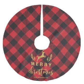 Buffalo Plaid Merry Christmas Monogram Brushed Polyester Tree Skirt
