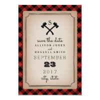 Buffalo Plaid Monogram Axe Save The Date Card