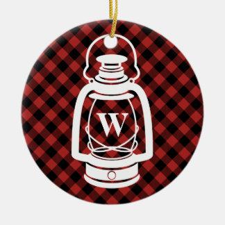Buffalo Plaid Monogram Lantern Ceramic Ornament